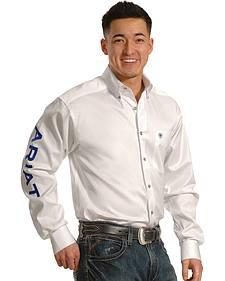 Ariat Men's White Long Sleeve Logo Western Shirt