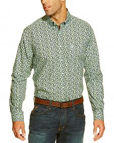 Ariat Men's Navy and Mint Flower Print Western Shirt