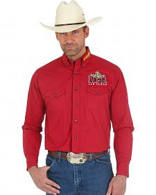 Wrangler Men's Red Print National Finals Rodeo Logo Western Shirt