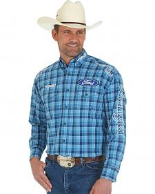 Wrangler Men's Ford Logo Blue Plaid Western Shirt