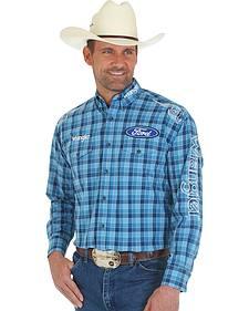 Wrangler Men's Ford Logo Blue Plaid Western Shirt