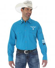 Wrangler Men's 20X Teal and White Print Western Shirt