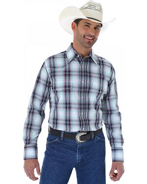 Wrangler Wrinkle Resist Navy and White Plaid Western Shirt