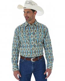 Wrangler Men's Checotah Burgundy and Turquoise Print Western Shirt