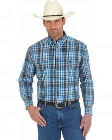 Wrangler George Strait Blue and Coral Plaid Western Shirt