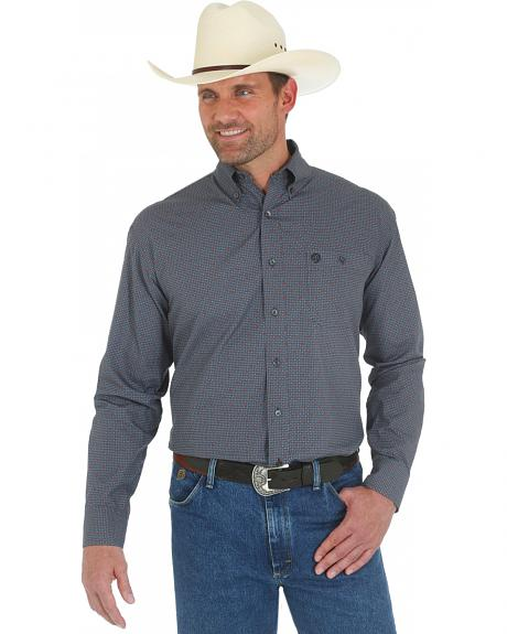 Wrangler George Strait Grey and Red Print Western Shirt
