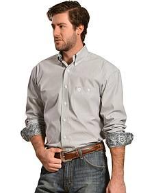 Wrangler George Strait Grey and White Stripe Western Shirt