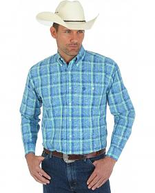 Wrangler George Strait Green and Blue Plaid Overprint Western Shirt