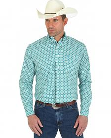 Wrangler George Strait Long Sleeve Green Print Shirt