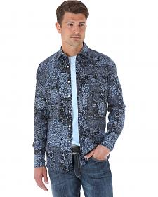Wrangler 20X Men's Black & Navy Patchwork Long Sleeve Snap Shirt