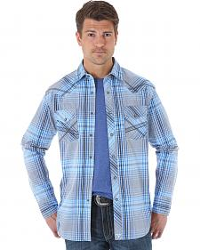 Wrangler 20X Men's Blue & Black Plaid Long Sleeve Snap Shirt