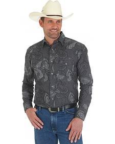 Wrangler Men's George Strait Grey Troubadour Paisley Shirt