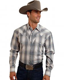 Stetson Men's Gray Plaid Long Sleeve Western Shirt