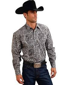 Stetson Men's Gray Paisley Print Long Sleeve Western Shirt