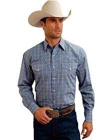 Stetson Men's Blue Print Long Sleeve Western Shirt
