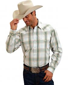 Stetson Men's Brown & Cream Plaid Long Sleeve Western Shirt