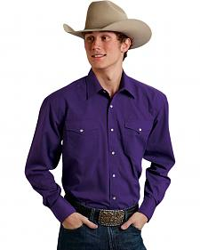 Roper Men's Amarillo Collection Solid Purple Snap Long Sleeve Shirt