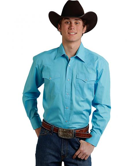 Roper Men's Amarillo Collection Solid Baby Blue Snap Long Sleeve Shirt