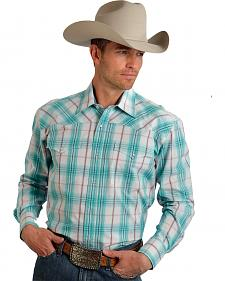 Roper Men's Amarillo Collection Aqua Plaid Snap Long Sleeve Shirt