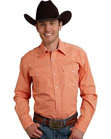 Roper Men's Amarillo Collection Orange Print Snap Long Sleeve Shirt