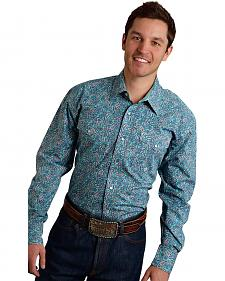 Roper Men's Amarillo Collection Green Paisley Snap Long Sleeve Shirt