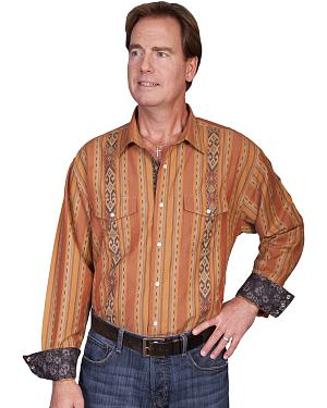 Scully Signature Series Patterned Stripe Western Shirt