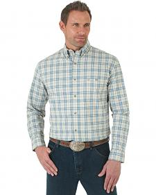 Wrangler Men's Advanced Comfort Stretch Coral and Blue Poplin Shirt