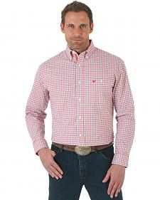 Wrangler Advanced Comfort Coral and White Plaid Western Shirt