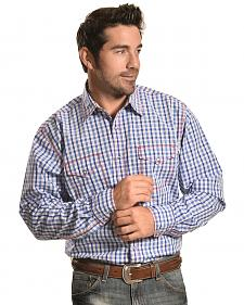 Wrangler Men's 20X Blue and White Check Western Shirt