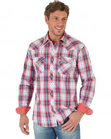 Wrangler Men's 20X Coral Plaid Poplin Western Shirt
