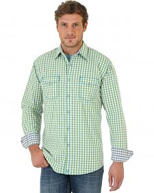 Wrangler Men's 20X Green and Brown Check Western Shirt