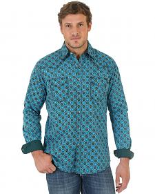Wrangler Men's 20X Teal and Black Poplin Print Western Shirt