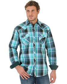 Wrangler Men's 20X Green Plaid Poplin Western Shirt