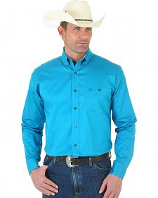 Wrangler George Strait One Pocket Blue Twill Shirt