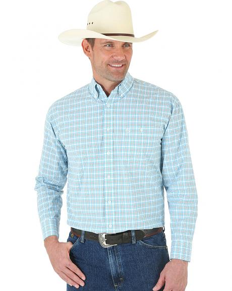 Wrangler George Strait One Pocket White and Turquoise Plaid Shirt