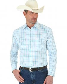 Wrangler George Strait Snap White and Blue Plaid Poplin Shirt