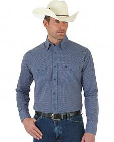 Wrangler George Strait Troubadour Navy Blue Plaid Jacquard Shirt