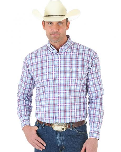 Wrangler George Strait One Pocket Ombre White Rose and Blue Plaid Twill Shirt