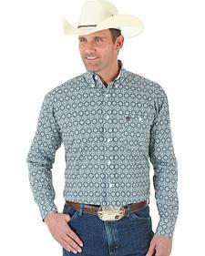 Wrangler George Strait One Pocket Black and White Print Poplin Shirt
