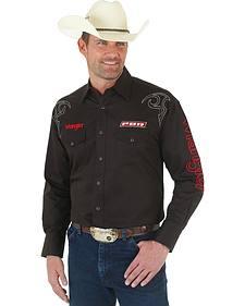 Wrangler PBR Logo Black Western Shirt