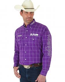 Wrangler Men's Ram Logo Purple Plaid Shirt