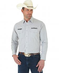 Wrangler Jack Daniel's Logo Grey and White Plaid Shirt
