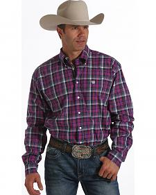 Cinch Men's Purple Purple & White Button Long Sleeve Shirt