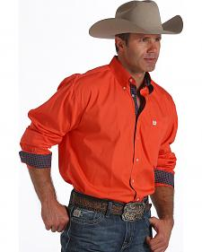 Cinch Men's Coral Contrast Cuff Button Long Sleeve Shirt