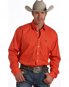 Cinch Men's Long Sleeve Coral Mini Print Shirt
