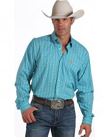Cinch Men's Long Sleeve Teal Print Shirt