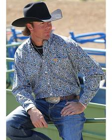 Cinch Men's Long Sleeve Paisley Print Shirt