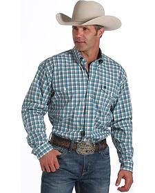 Cinch Men's Long Sleeve Double Pocket Plaid Shirt