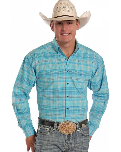 Tuf Cooper Performance Teal Plaid Poplin Western Shirt