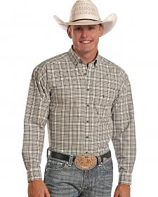 Tuf Cooper Performance Tan Plaid Poplin Western Shirt